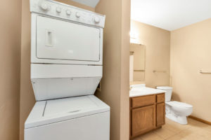 Woodhaven East Apartments bathroom and washer dryer
